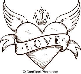 coração, crown., bandeira