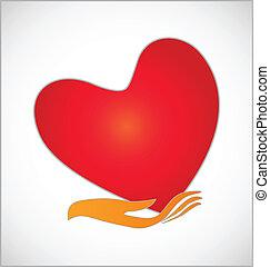 coração, cuidado, conceito, logotipo