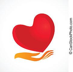 coração, cuidado, logotipo