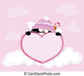 coração, cupid, segurando, pingüim