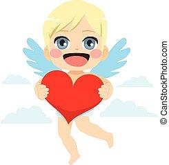 coração, cupid, segurando