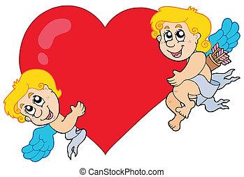 coração, cupids, dois, segurando