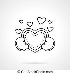 coração, cute, apartamento, vetorial, mãos, linha, ícone