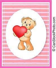 coração, cute, cartaz, balloon, urso teddy, segurando