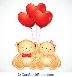 coração, cute, par, urso teddy, segurando, balloon