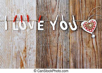 Coração,  dÈcor, Amor, palavras, Dado forma, madeira,  valentines,  -, fundo, tu, Dia