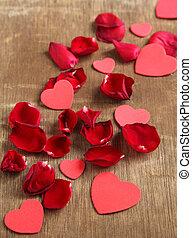 Coração, Dado forma, madeira,  rosÈ, pétalas, fundo