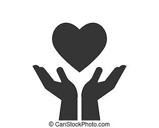 coração, dar, caridade, doação, segurar passa, vermelho, ícone