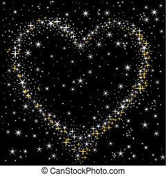 coração, de, a, céu estrelado