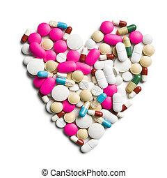 coração, de, coloridos, pílulas