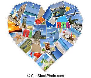 coração, de, fotografias, ligado, férias verão, praia, feriado, e, viajando
