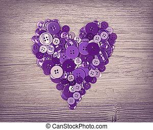 coração, de, lilás, botões