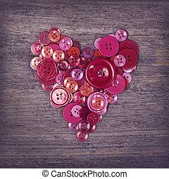 coração, de, vermelho, botões