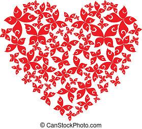 coração, de, voando, borboletas
