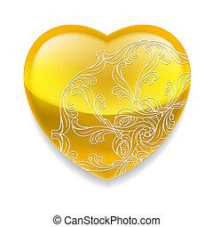 coração, decoração, brilhante, amarela