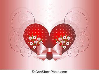 coração, decorado, flores, vermelho