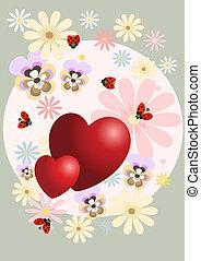 coração, decorado, flores