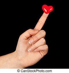 coração, dedo