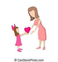 coração, dela, dar, mãe, menina, caricatura, ícone