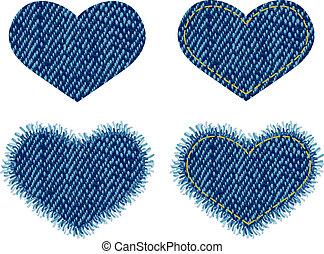 coração, denim, patch.