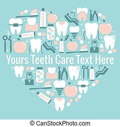 coração, dental, símbolo, cuidado