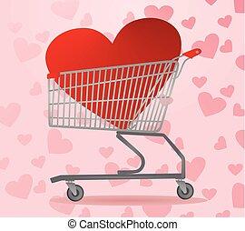 coração, dentro, carro shopping