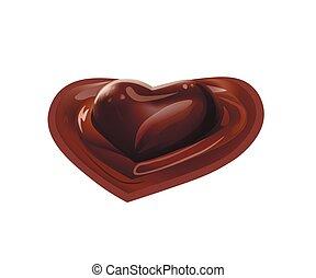 coração, derretido, líquido, chocolate