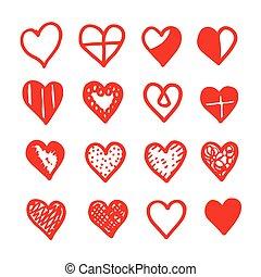coração, desenhar, ícone, desenho, mão