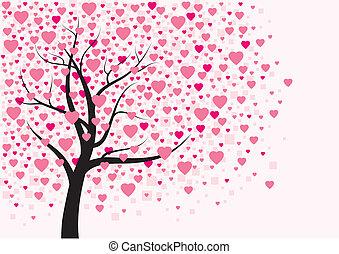 coração, desenho, árvore