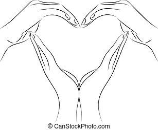 coração, desenho, desenho, feito, mão, forma