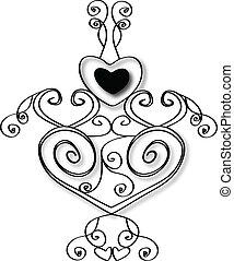 coração, desenho, estoque, vetorial
