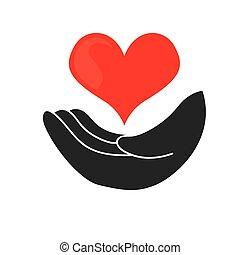 coração, desenho, mão