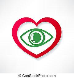 coração, desenho, olho