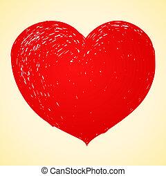 coração, desenho, vermelho