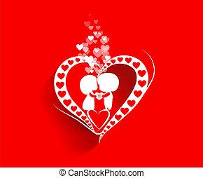 coração, dia, fundo, valentine