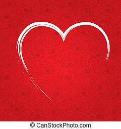 coração, dia, vermelho, valentine