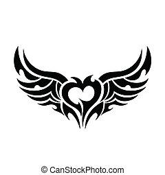 coração, diabólico, tatuagem