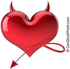 coração, diabo, amor, forma, total, vermelho