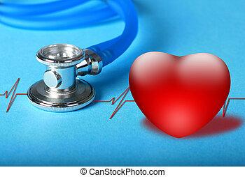 coração, diagram., estetoscópio
