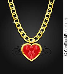 coração, diamante, jóia