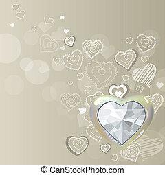 coração, diamante, luz, cinzento, fundo, penduradas, prata
