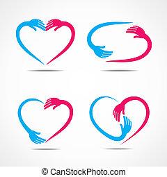 coração, diferente, desenho, símbolo, forma