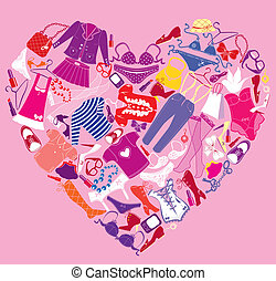 coração, diferente, feito, shopping, femininas, imagem, acessórios, moda, glamor, amor, roupas