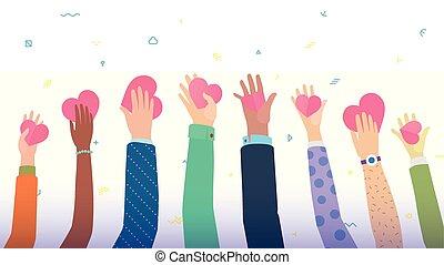 coração, diferente, pessoas, muitas mãos, segurando, sinais