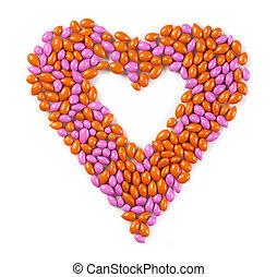 coração doce, feito, de, bala doce