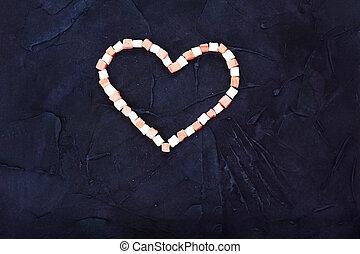 coração, doces, símbolo, experiência., pretas, vista., topo