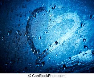 coração, dof., raso, copo., molhados, desenhado