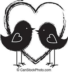 coração, dois pássaros