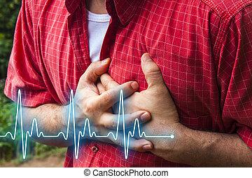 Coração, dor, homens,  -, peito, ataque