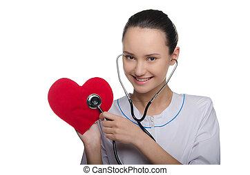 coração, doutor, estetoscópio, escuta